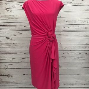 Jones NY Pink Side Rouched Stretchy Dress Size 14
